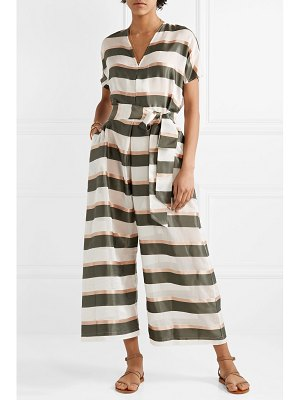Lisa Marie Fernandez rosetta belted paneled gauze and satin jumpsuit