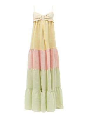 Lisa Marie Fernandez st tropez metallic linen-blend gauze maxi dress