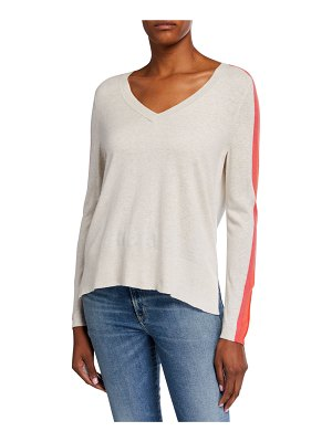 Lisa Todd Down Time V-Neck Sweater w/ Racing Stripe