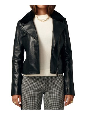 LITA by Ciara ultimate biker leather jacket with genuine shearling collar