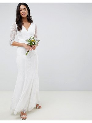 Little Mistress bridal long sleeve white maxi with jewel