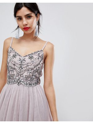 Little Mistress Cami Mesh Midi Dress With Embellished Detail