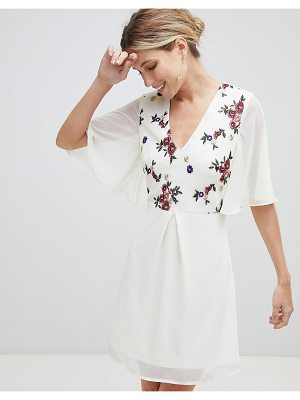 Little Mistress embroidered skater dress with kimono sleeves