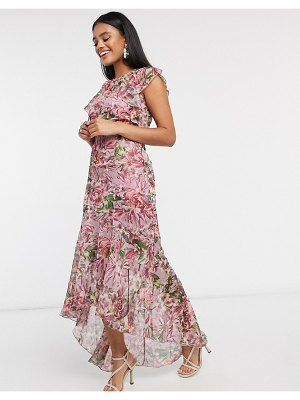 Little Mistress fishtail maxi in floral-multi