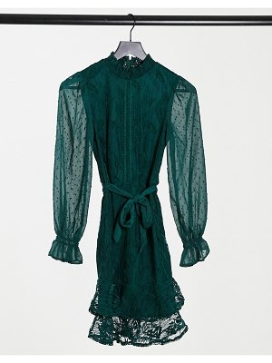 Little Mistress high neck long sleeve lace mini dress with tie belt in emerald green