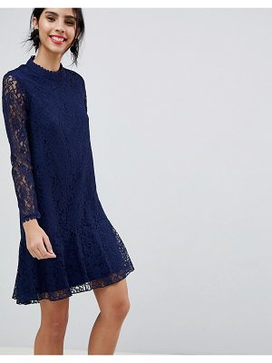Little Mistress Lace Shift Dress With Fluted Hem