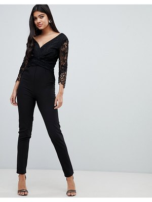 Little Mistress lace sleeve fitted jumpsuit