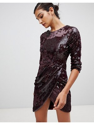 Little Mistress long sleeve all over sequin dress with ruched detail