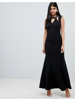 Little Mistress maxi dress with embellished cut out neckline and scoop back