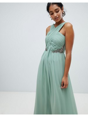 Little Mistress ruched maxi dress with embellished detail