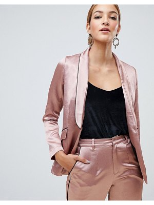 Little Mistress satin blazer with contrast piping