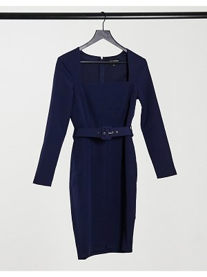 Little Mistress square neck belted midi dress in navy