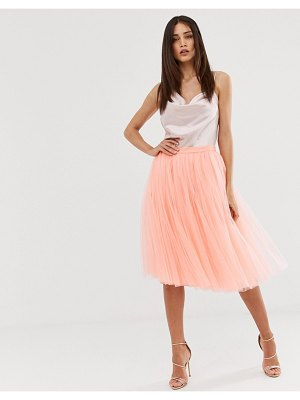 Little Mistress tulle midi prom skirt in coral-orange