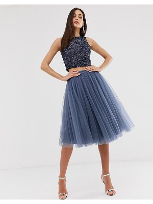 Little Mistress tulle midi prom skirt in lavender gray