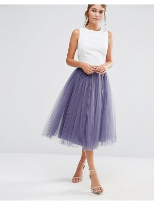 Little Mistress tulle midi prom skirt-gray