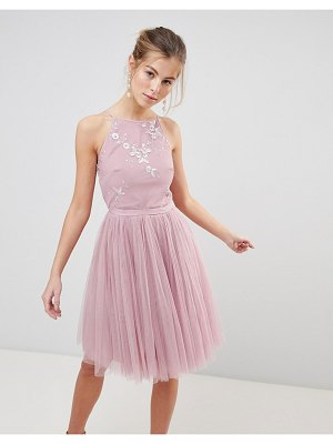 Little Mistress tulle skirt skater dress-pink