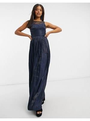 Little Mistress wrap detail maxi dress with embellished yoke in navy