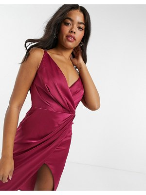 Little Mistress wrap satin midi dress in berry-red