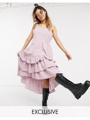 Little Sunny Bite cami dress with frill tiers in gingham-pink