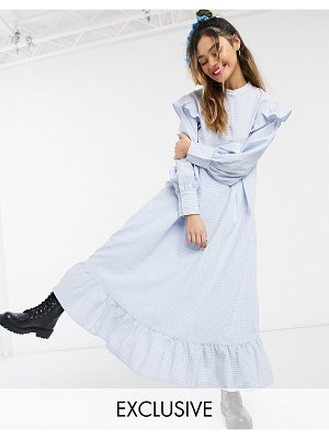 Little Sunny Bite long sleeve midaxi dress with frills in gingham-black