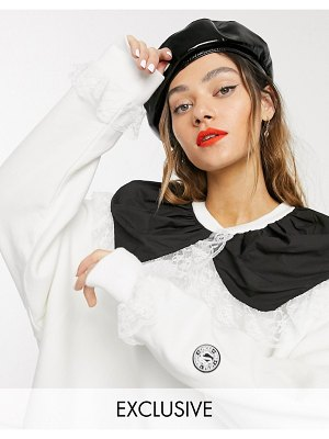Little Sunny Bite oversized sweat dress with contrast frill collar-white
