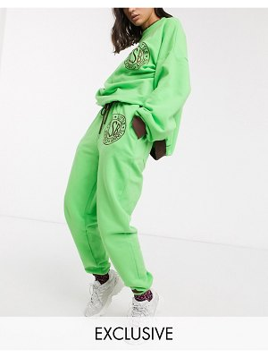 Little Sunny Bite oversized sweatpants with logo two-piece-green