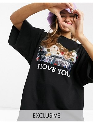 Little Sunny Bite oversized t-shirt with teddy graphic-black