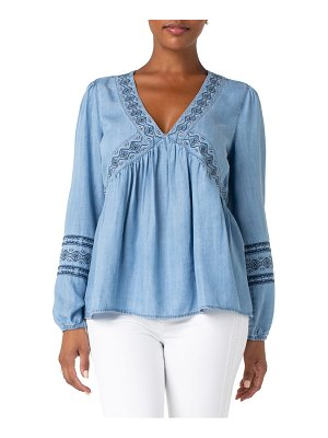 Liverpool embroidered neck peasant top