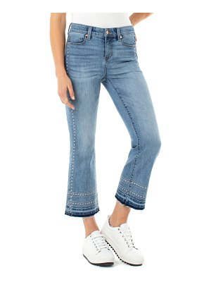 Liverpool high waist embroidered release hem crop flare jeans