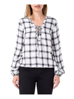 Liverpool lace-up check popover top