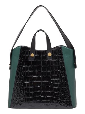 Lizzie Fortunato Friday Small Croc-Embossed Leather Shopper Tote Bag