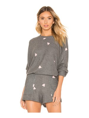 LNA Brushed Hearts Raglan Sweater