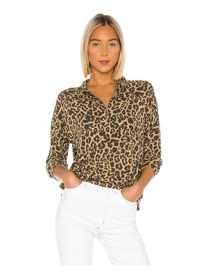 LNA brushed leopard zip collar pullover