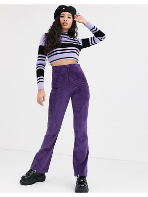 Local Heroes high waist corduroy flares with zip detail in purple