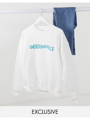 Local Heroes oversized co-ord sweatshirt with disconnect slogan-white
