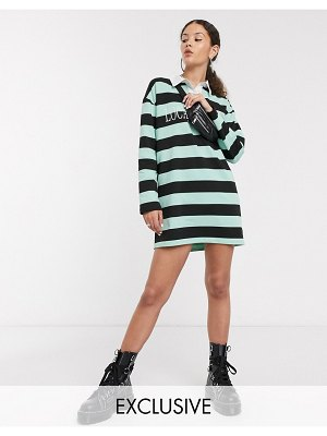 Local Heroes oversized rugby dress with front logo in bold stripe-green