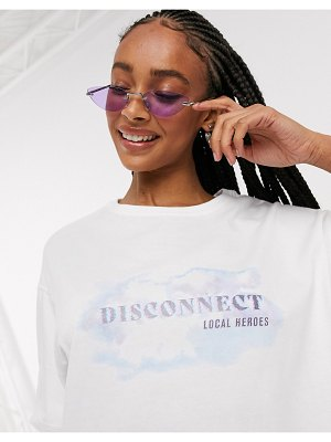 Local Heroes oversized t-shirt with disconnect graphic-white