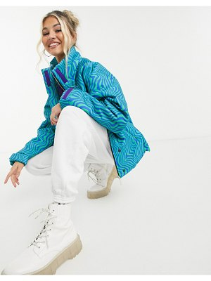 Local Heroes oversized zip front puffer jacket in wavy print-blue