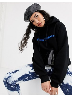 Local Heroes relaxed hoodie with wild nature graphic and contrast pocket-black