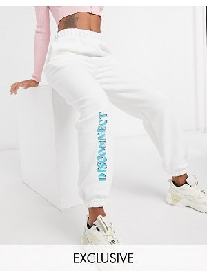 Local Heroes relaxed sweatpants with disconnect logo co-ord-white