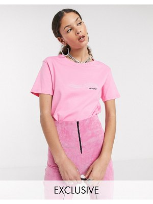 Local Heroes relaxed t-shirt with front logo in pastel acid wash-pink