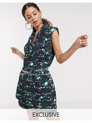 Local Heroes sleeveless tailored blazer in paint splatter two-piece-black
