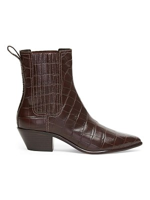Loeffler Randall aylin western croc-embossed leather ankle boots