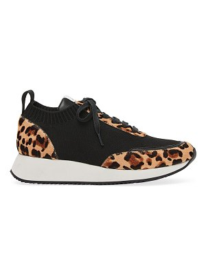 Loeffler Randall remi leopard-print calf hair & leather knit sneakers