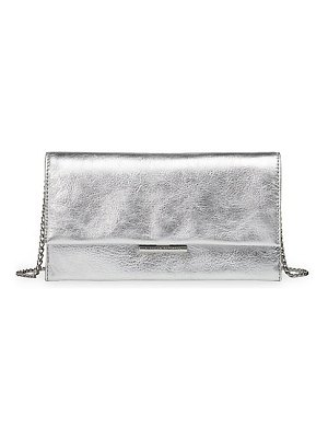 Loeffler Randall tab metallic leather clutch