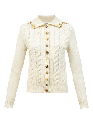 Loewe anagram-button cable-knit wool cardigan