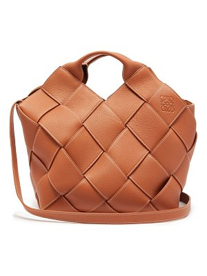 Loewe anagram small woven leather tote bag