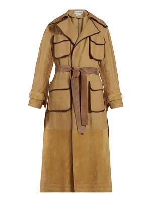 Loewe belted cotton canvas and suede trench
