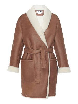 Loewe belted shearling-trimmed leather coat size: 34
