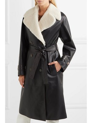Loewe belted shearling-trimmed leather coat